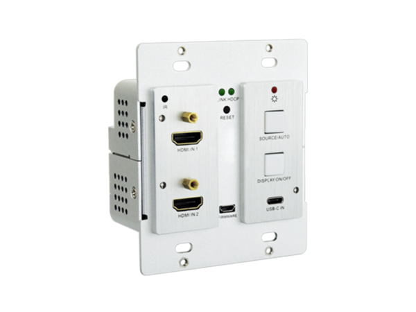 4K HDMI 2.0 Wallplate Transmitter Switcher with 2 x HDMI and 1 x USB-C Input with RS-232 Control, Display On-Off Button